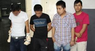 Luis Ángel Sánchez, de rojo, fue capturado por la PNC este martes. Foto: PNC