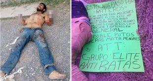 Les Cortan las manos a ladrones en México y dejan Advertencia