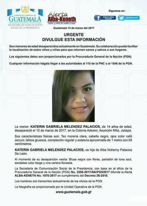 Katerinne Gabriela Meléndez Palacios de 14 años de edad