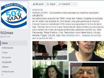 páginas de Facebook de 502max