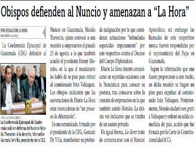 Obispo defiende al Nuncio y Amenaza a La Hora