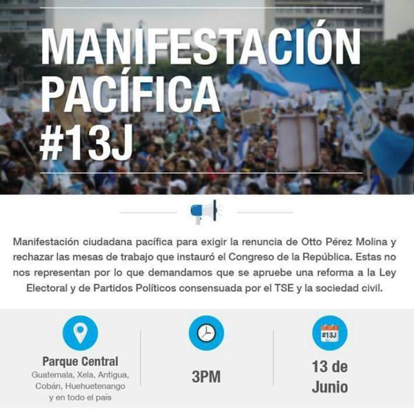 Manifestación Pacífica este 13 de Junio