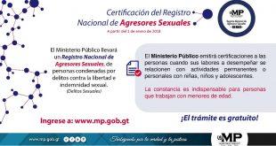 El Ministerio Público emitirá certificación del Registro Nacional de Agresores Sexuales