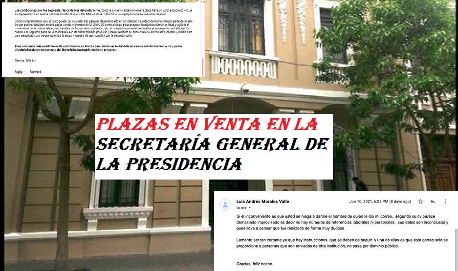 Plazas en Venta en la Secretaría General de la Presidencia