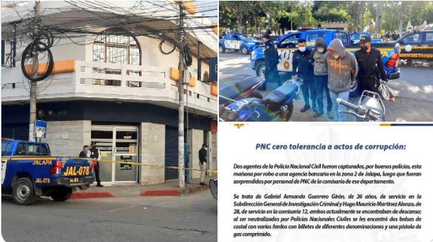 Policías Asaltan Agencia Bancaria en Jalapa